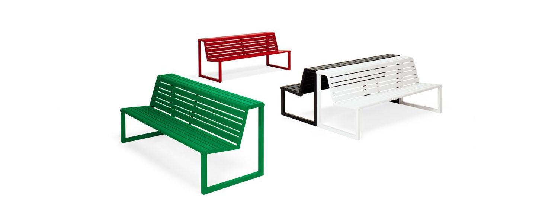 .H24 Panca con schienale e doppia seduta